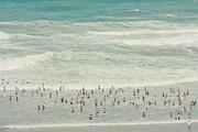 People Walking Into Ocean Print by Cindy Prins