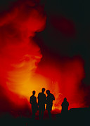 Hawai Prints - People Watching A Lava Flow, Hawaii Print by G. Brad Lewis