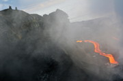 Sea Watch Prints - People watching river of molten lava flowing to the sea Print by Sami Sarkis