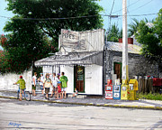 Key West Paintings - Pepes Cafe Key West Florida by Bob  George