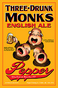 Drunk Drawings Prints - Pepper Three Drunk Monks Print by John OBrien