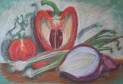 Red Pepper Pastels - Pepper Tomato and Onions by Geraldine Leahy