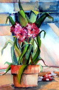 Pots Drawings Prints - Peppermint Carnations Print by Mindy Newman