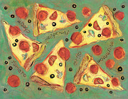 Jen Norton Paintings - Pepperoni Pizza by Jen Norton