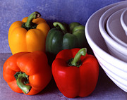 Wooden Bowl Prints - Peppers and Bowls Print by Jerry Taliaferro