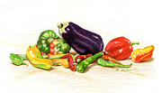 Chili Peppers Painting Originals - Peppers and Eggplant Still Life by Phyllis Tarlow