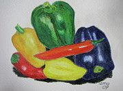 Produce Drawings Prints - Peppers Print by Antje Martens-Oberwelland