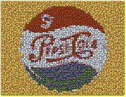 Bottle Cap Digital Art Posters - Pepsi Bottle Cap Mosaic Poster by Paul Van Scott