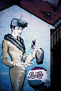 Painted Walls Prints - Pepsi is here - Pepsi Cola Ad in Prague CZ Print by Christine Till