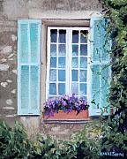 Blue Window Pastels - Perched Purples by Jeanne Rosier Smith