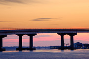 Orange Digital Art Originals - Perdido Bridge Sunrise Closeup by Michael Thomas