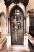 Cemetery Art Photos - Pere La Chaise Cemetery Ornate Mausoleum by Kathy Fornal