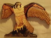 Intarsia Sculpture Framed Prints - Peregrine Falcon Framed Print by Russell Ellingsworth