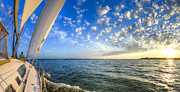 Amazing Sunset Photo Prints - Perfect Evening Sailing on the Charleston Harbor Print by Dustin K Ryan