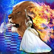 Lion Digital Art - Perfect peace in perfect Love by Dolores DeVelde