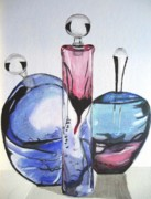 Stopper Framed Prints - Perfume Bottles Framed Print by Cathy Jourdan
