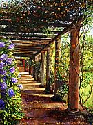 Europe Painting Framed Prints - Pergola Walkway Framed Print by David Lloyd Glover