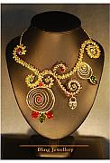 Peridot Jewelry - Peridot Garnet and Carnelian Wire Scrolled Necklace by Janine Antulov