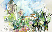 Townscapes Drawings - Perigord in France 06 by Miki De Goodaboom