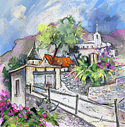 Travel Sketch Prints - Perigord in France 08 Print by Miki De Goodaboom
