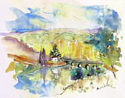 Travel Sketch Prints - Perigord in France 10 Print by Miki De Goodaboom