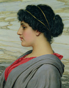 Hairdo Framed Prints - Perilla Framed Print by John William Godward