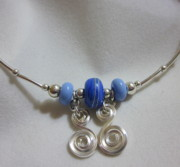 Spirals Jewelry - Periwinkle Choker Necklace by Janet  Telander