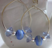 Abstract Jewelry - Periwinkle Hoop Earrings by Janet  Telander
