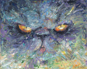 Impasto Drawings Posters - Persian cat 2 Poster by Svetlana Novikova