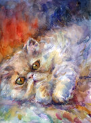 Cute Kitten Drawings Prints - Persian Cat painting Print by Svetlana Novikova