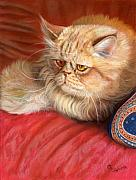 Cats Pastels Prints - Persian cat Print by Svetlana Ledneva-Schukina