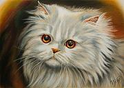 Persian Cat Pastels Posters - Persian Cat Poster by Valentina Vassilieva
