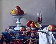 Persian Carpet  Originals - Persian Fruit and Still Life by Lynda Bjornson Moyer