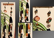 African Glass Art - Persian Gold Copper Metalwork Feng Shui Glass Crystal Wind Chime by Karen Martel