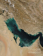 Bahrain Framed Prints - Persian Gulf Satellite Image Framed Print by Nasa