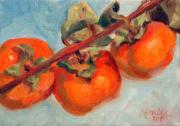 Fruit Tree Metal Prints - Persimmons Metal Print by Athena  Mantle