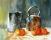 Old Relics Painting Prints - Persimmons Print by Michiko Taylor
