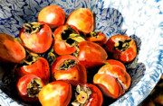 Food Framed Prints - Persimmons Framed Print by Nadi Spencer