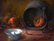 Persimmons Posters - Persimmons with Black Cook Pot Poster by Lilli Pell