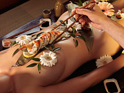 Adult Framed Prints - Person Eating Nyotaimori Body Sushi Framed Print by Oleksiy Maksymenko