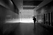 Snowstorm Art - Person under Umbrella Leaving Subway during New York Blizzard  by Rosemary Hawkins