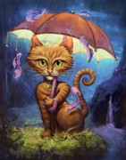 Fantasy Cats Paintings - Personal Sunshine by Jeff Haynie