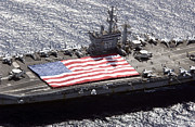 Supercarrier Prints - Personnel Participate In A Flag Print by Stocktrek Images