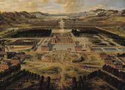 Aerial Perspective Paintings - Perspective view of the Chateau Gardens and Park of Versailles by Pierre Patel