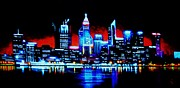 City Skylines Paintings - Perth by Black Light   SOLD by Thomas Kolendra