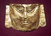 Ancient Indian Art Metal Prints - Peru: Chimu Gold Mask Metal Print by Granger