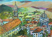 Church Painting Originals - Perugia Italy by Mindy Newman