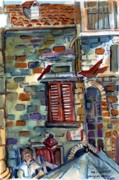 Umbrella Mixed Media Prints - Perugia Street Cornor Print by Mindy Newman