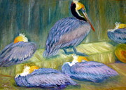 Blues Pastels Posters - Peruvian Pelicans Two Pastel Poster by Antonia Citrino