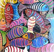 Chapeaux Paintings - Pesci Colorati by Patty Meotti